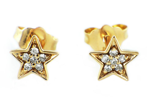 0.06ct Micro Pavé Round Diamonds in 14K Gold Star Stud Earrings - 6mm