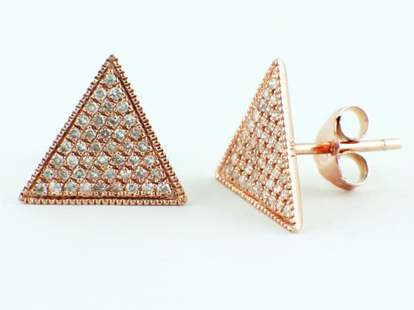 0.12ct Micro Pavé Round Diamonds in 14K Rose Gold Triangle Stud Earrings