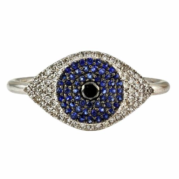 0.41tcw Pavé Diamond & Sapphire 14K White Gold Evil Eye Statement Ring