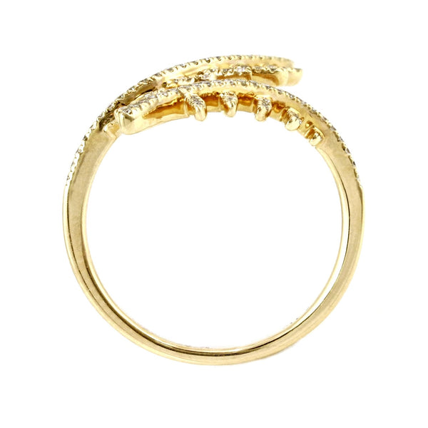 0.31ct Pavé Diamonds in 14K Gold Fern Leaves Cuff Ring