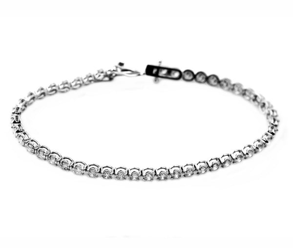 2.00ct Round Diamonds in 18K White Gold 3mm Tennis Bracelet - 7""
