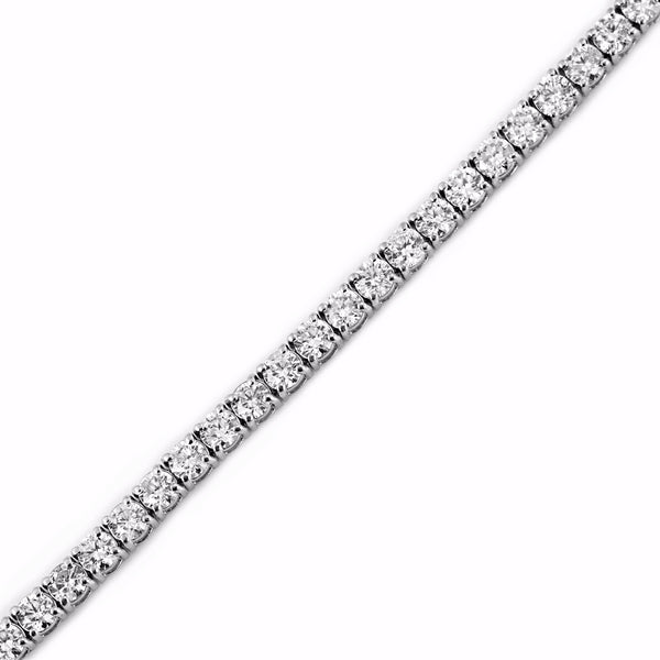 5.00ct Round Diamonds in 18K White Gold 3mm Box Tennis Bracelet - 7""