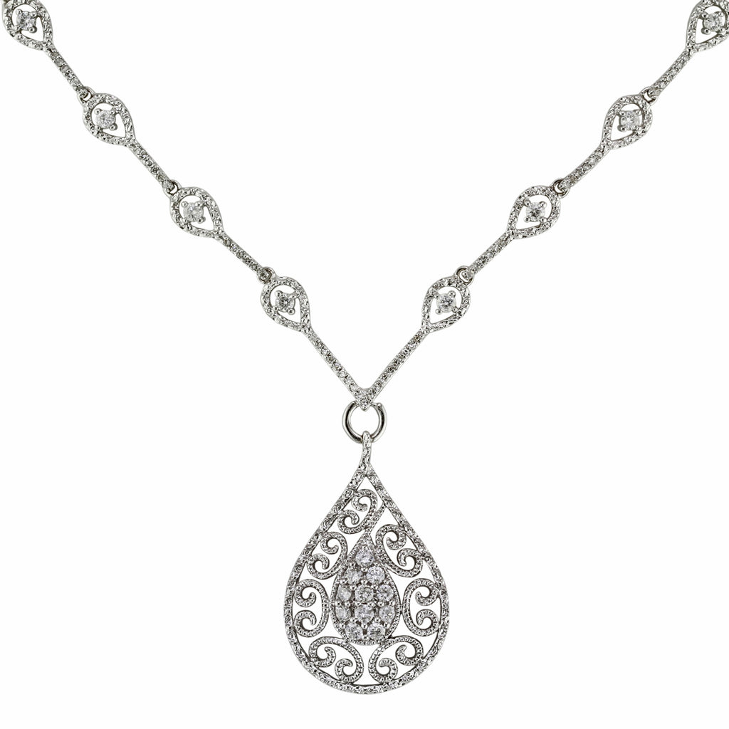0.79tcw Round Diamonds in 14K White Gold Tear-Drop Filigree Pendant Necklace 17""