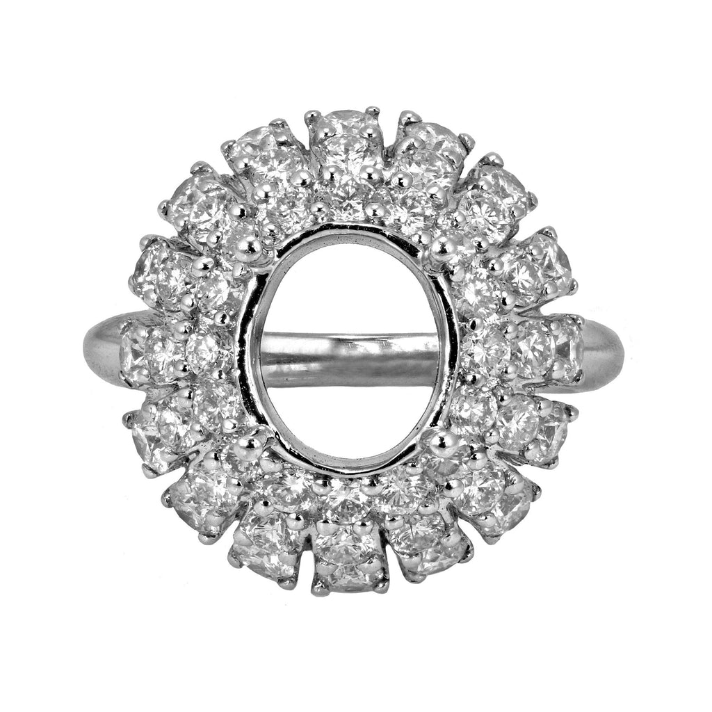 2.20ct Round Side Diamonds in 14K White Gold Halo Semi Mount Ring