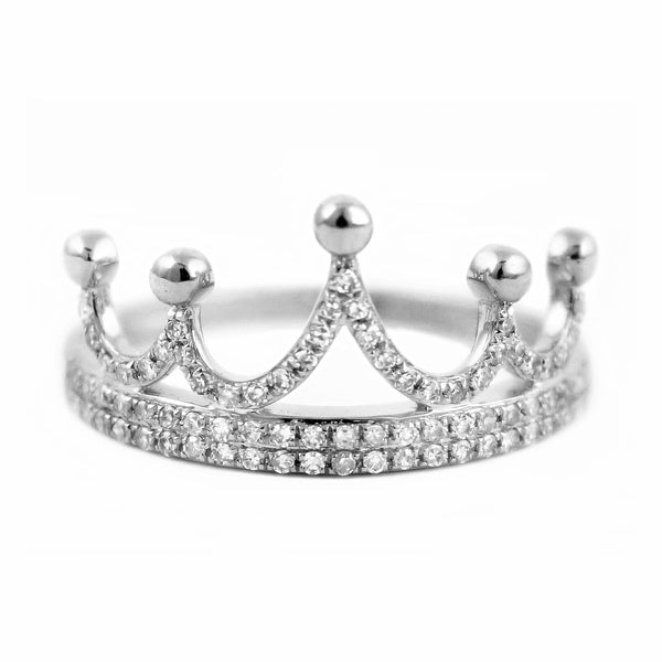 0.23ct Pavé Round Diamonds in 14K Gold Crown Band Ring