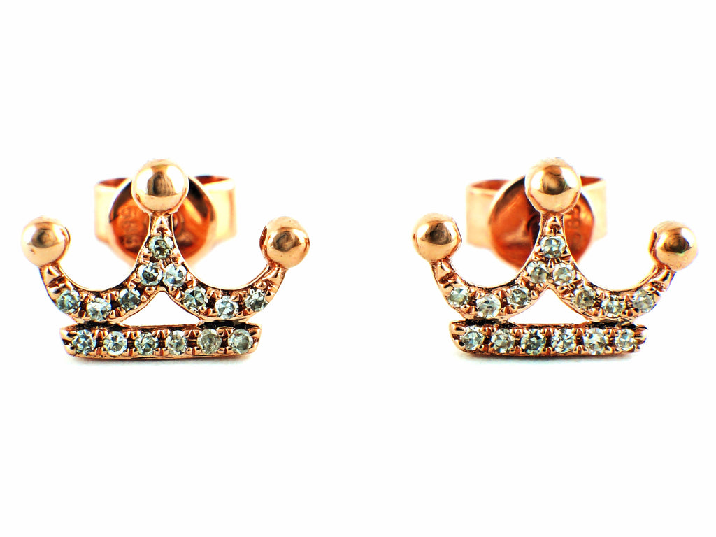 colored stud designer crown white diamond earrings ear