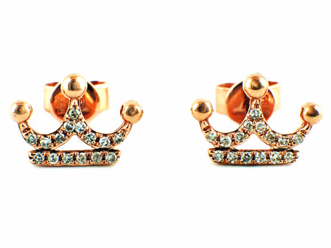 0.09ct Pavé Round Diamonds in 14K Gold Crown Stud Earrings