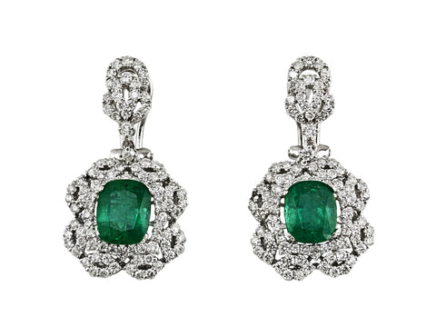 5.02ct Cushion Zambian Emerald with Diamonds in 18K White Gold Dangle Earrings