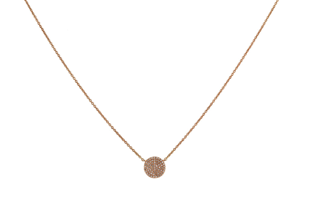 9mm Round Disc with 0.20ct Pave Diamonds in 14K Gold Charm Necklace