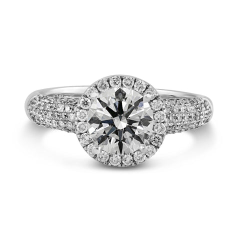 0.63ct Pavé Side Diamonds in 14K White Gold Semi-Mount Halo Ring