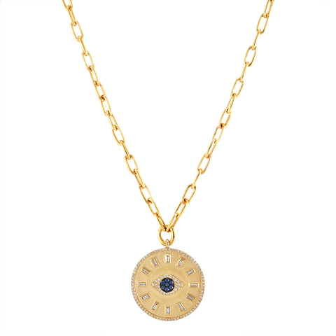0.37tcw Sapphires & Diamonds in 14k Evil Eye Medallion Necklace 18""