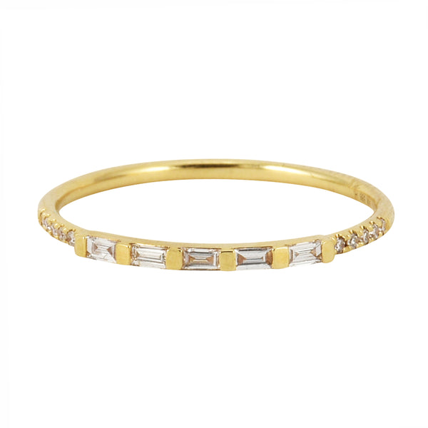 0.13ct Round & Baguette Diamonds in 14K Gold Skinny Statement Stackable Ring