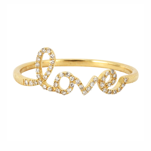0.10ct Round Diamonds in 14K Gold Scribed Word LOVE Statement Stackable Ring