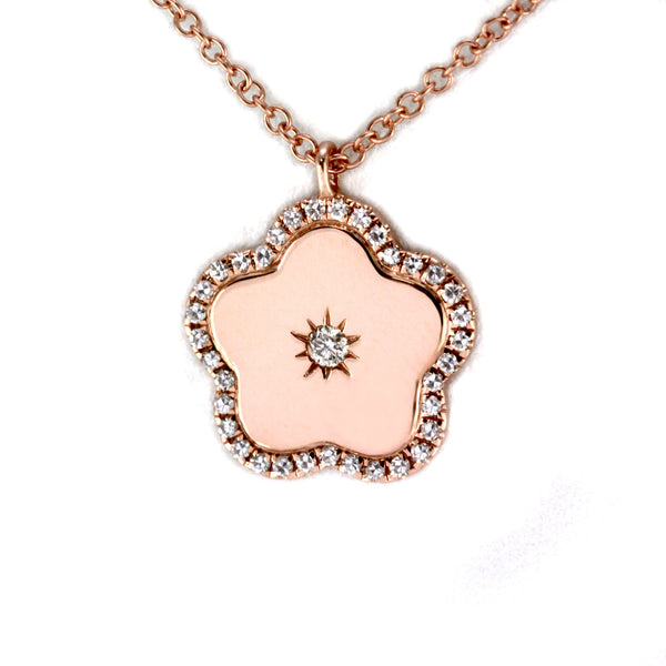 0.13ct Round Diamonds in 14K Gold Clover Flower Pendant Necklace