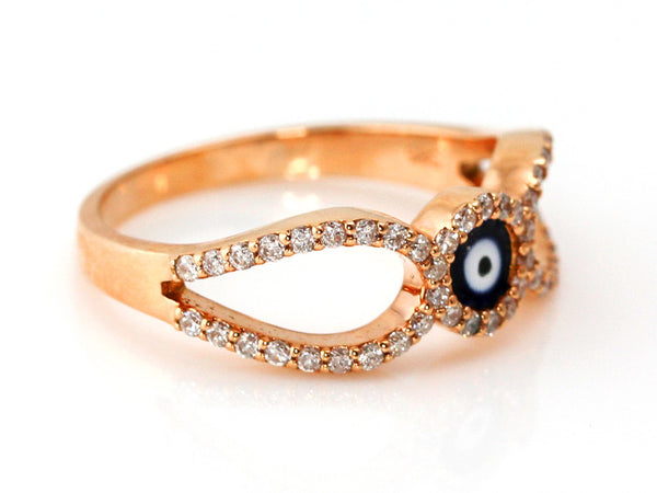 0.37ct Pavé Diamonds in 14K Rose Gold Evil Eye Motiff Ring