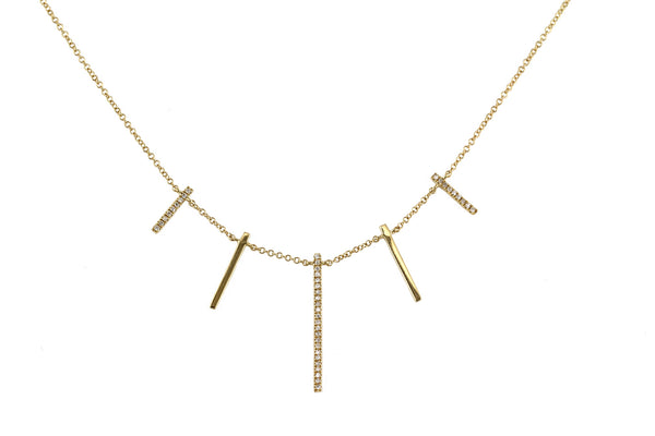 0.13ct Pavé Diamond in 14K Gold Scattered Bars Dangle Necklace