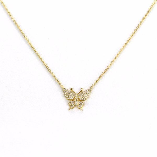 0.14ct Pavé Round Diamonds in 14K Gold Swallowtail Butterfly Necklace