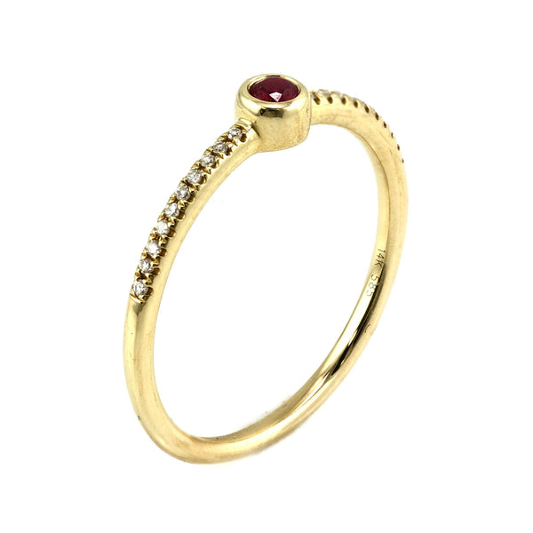 0.14tcw Diamond & Ruby 14K Yellow Gold Bezel Solitaire Engagement Ring