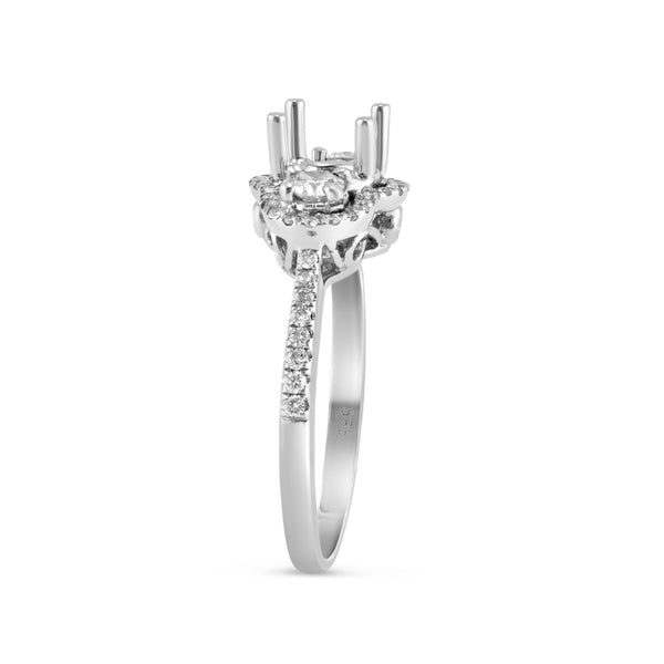 0.55ct Pavé Side Diamonds in 14K White Gold Semi-Mount 3Stone Halo Ring