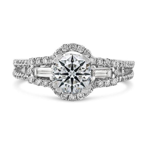 0.58ct Pavé Side Diamonds in 14K White Gold Semi-Mount 3Stone Halo Ring
