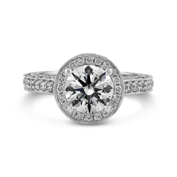 1.24ct Pavé Side Diamonds in 14K White Gold Semi-Mount Halo Ring