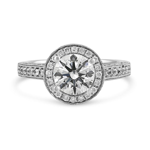 0.79ct Pavé Side Diamonds in 14K White Gold Semi-Mount Halo Ring
