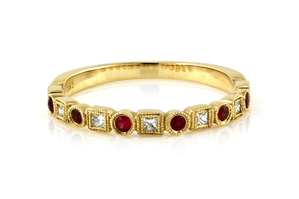 0.27tcw Diamond & Ruby in 14K Yellow Gold Milgrain Half Eternity Band Ring