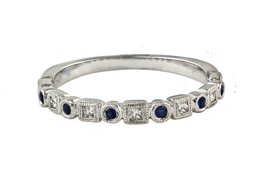 0.27tcw Diamond & Sapphire 14K White Gold Milgrain Half Eternity Band Ring