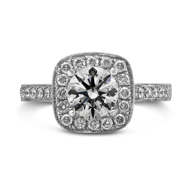 0.53ct Pavé Side Diamonds in 14K White Gold Semi-Mount Cushion Halo Ring
