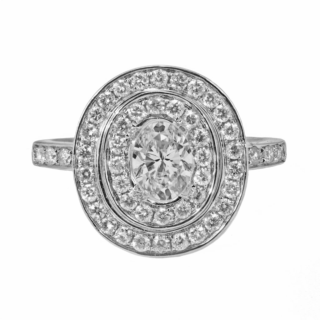 0.71ct Round Side Diamonds in 14K White Gold Halo Semi Mount Ring