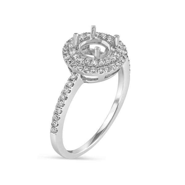 0.42ct Pavé Side Diamonds in 14K White Gold Semi-Mount Double Halo Ring