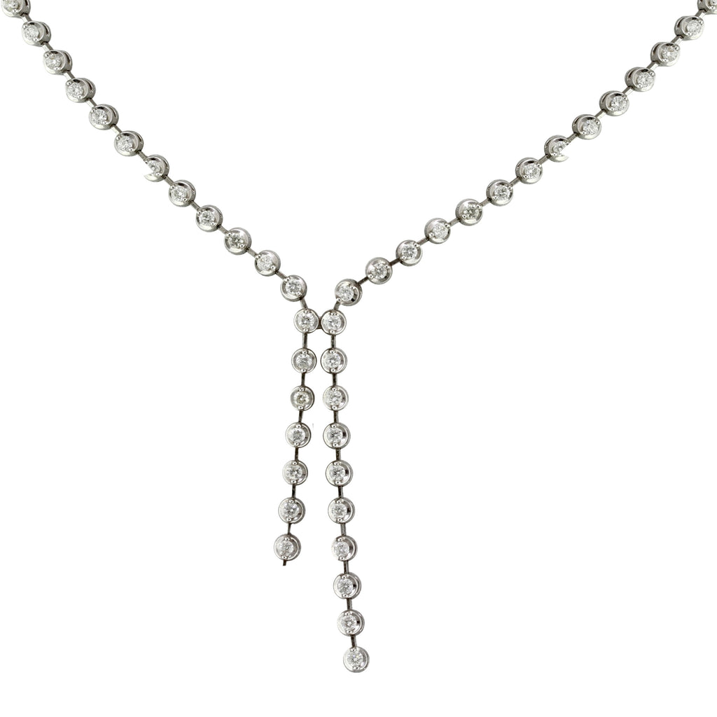 2.60tcw Round Diamonds in 18K White Gold Tennis Lariat Necklace 17""