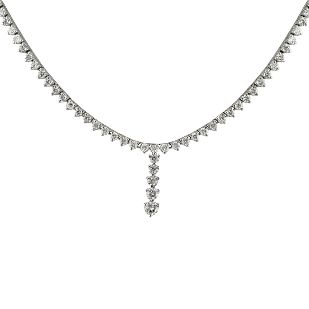 4.50tcw Round Diamonds in 14K White Gold Y-Shape Necklace 17""
