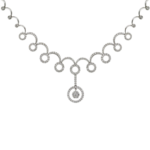 3.80tcw Round Diamonds in 14K White Gold Swirl Circle Pendant Necklace 17""