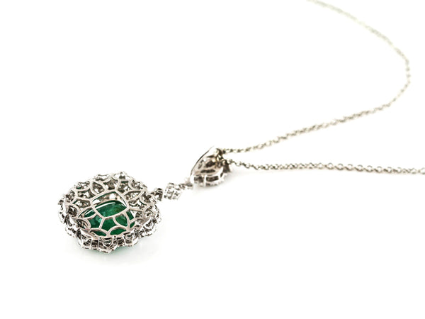 3.92ct Pear Shape Zambian Emerald with Diamonds 18K White Gold  Dangle Necklace