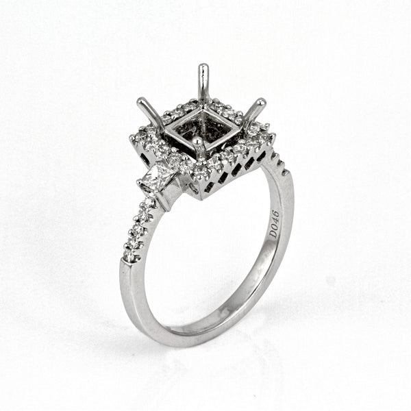 0.46ct Side Diamonds in 14K White Gold Princess Halo Semi Mount Ring