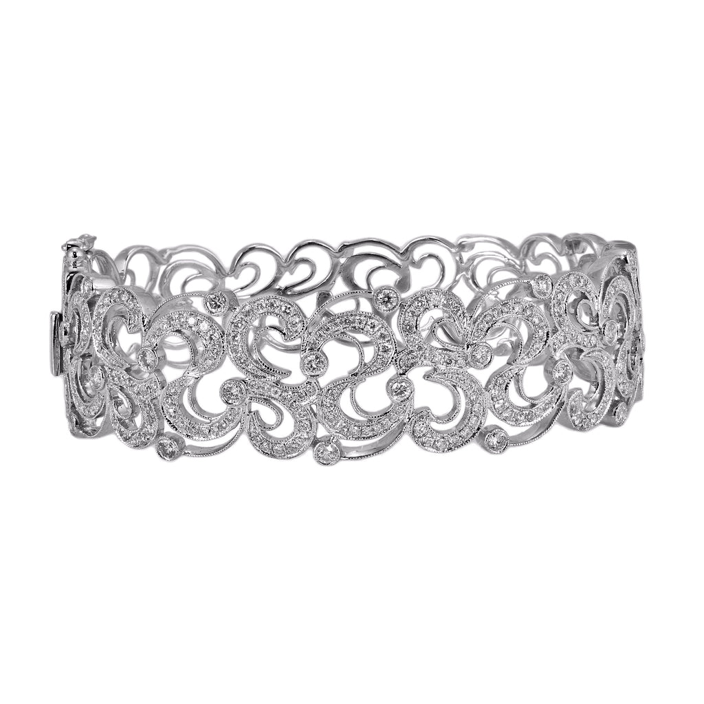 2.26tcw Round Diamond in 14K White Gold Filigree Bangle Bracelet -  6.5""