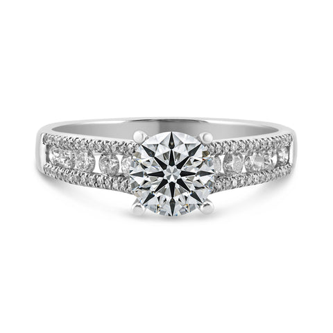 0.44ct Channel-Pavé Side Diamonds in 14K White Gold Semi Mount Solitaire Ring