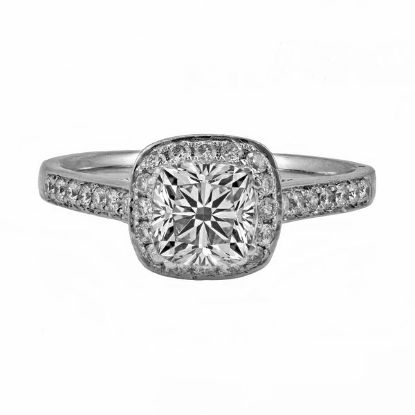 0.35ct Side Diamonds in 14K White Gold Cushion Halo Semi Mount Ring