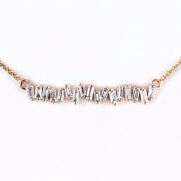 0.53ct Baguette Diamonds in 14K Gold Soundwave Bar Pendant Necklace