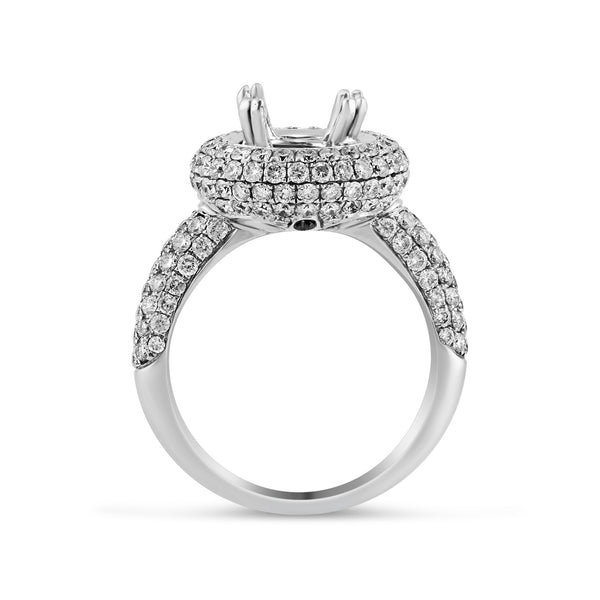 1.80ct Pavé Side Diamonds in 14K White Gold Semi-Mount Halo Ring