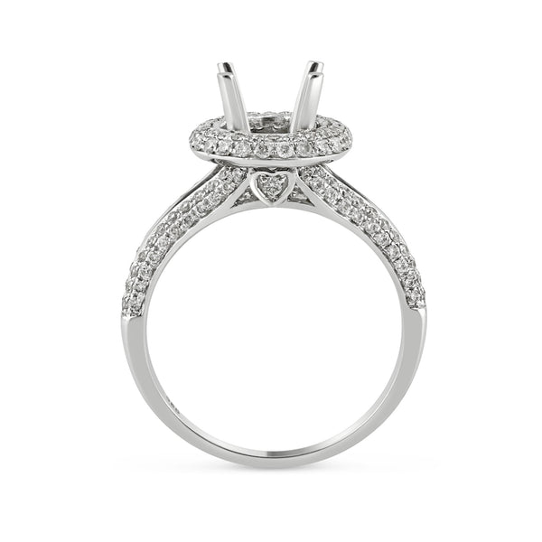0.66ct Pavé Side Diamonds in 14K White Gold Semi-Mount Halo Ring