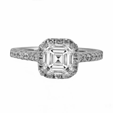 0.48ct Side Diamonds in 14K White Gold Asscher or Cushion Halo Semi Mount Ring