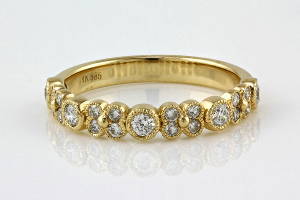0.47ct Round Diamonds in 14K Rose Gold Floral Half Eternity Ring