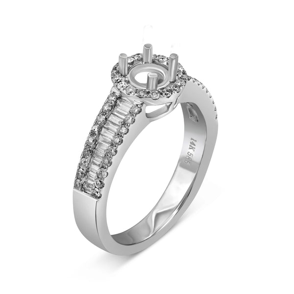 0.53ct Pavé Side Diamonds in 14K White Gold Semi-Mount Halo Ring