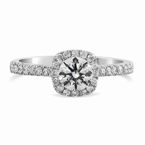 0.28ct Pavé Side Diamonds in 14K White Gold Semi-Mount Halo Ring