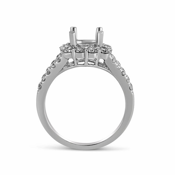 0.86ct Pavé Side Diamonds in 14K White Gold Semi-Mount Cushion Halo Ring