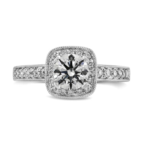 0.31ct Pavé Side Diamonds in 14K White Gold Semi-Mount Cushion Halo Ring