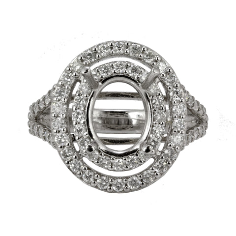 1.18ct Round Side Diamonds in 14K White Gold Oval Double Halo Semi Mount Ring