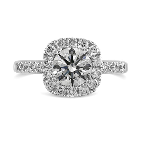0.46ct Pavé Side Diamonds in 14K White Gold Semi-Mount Basket Halo Ring